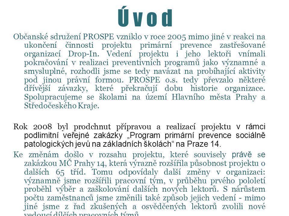 Ú v o d Občanské sdružení PROSPE vzniklo v roce 2005 mimo jiné v reakci na ukončení činnosti projektu primární prevence zastřešované organizací Drop-In.