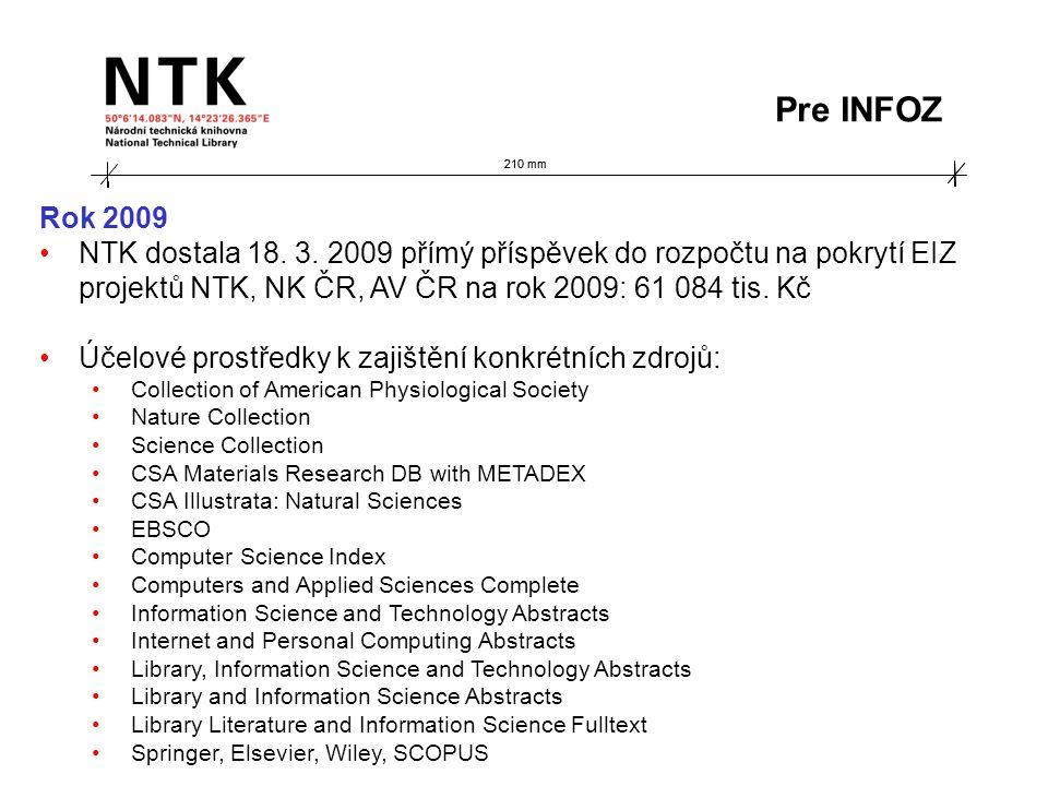 210 mm Rok 2009 NTK dostala 18. 3.