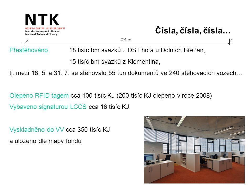 210 mm Čísla, čísla, čísla… Přestěhováno 18 tisíc bm svazků z DS Lhota u Dolních Břežan, 15 tisíc bm svazků z Klementina, tj.