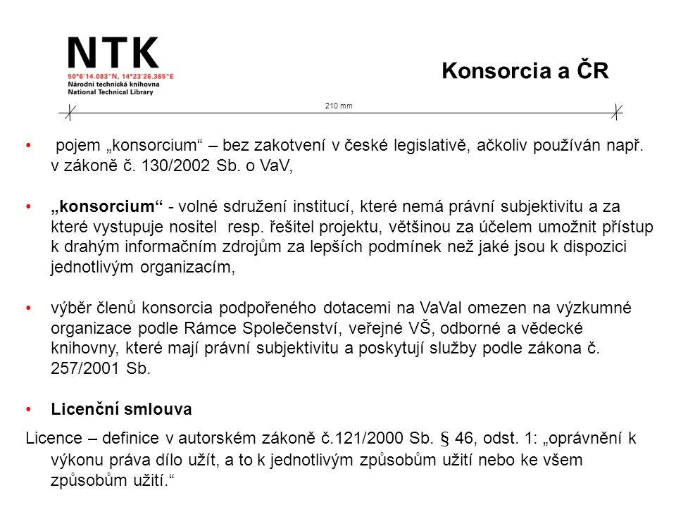 210 mm Konsorcionální model ES: přístup pro členskou instituci předplatné instituce + Unique Title List (původně 1 UTL s tituly delegovanými ES, vyjednáno 5 oborových UTL s tituly delegovanými konsorciem) jednání o UTL dokončeno 2004, svoláno celostátní setkání členů konsorcia ES, do dubna 2005 ladění obsahu UTL, korektní nastavení 2006… + v rámci tlaku na ES dohodnuta možná meziroční obměna titulů v objemu 10 % + tvorba ročních zpráv a korespondenční styk s MŠMT Programy v ČR