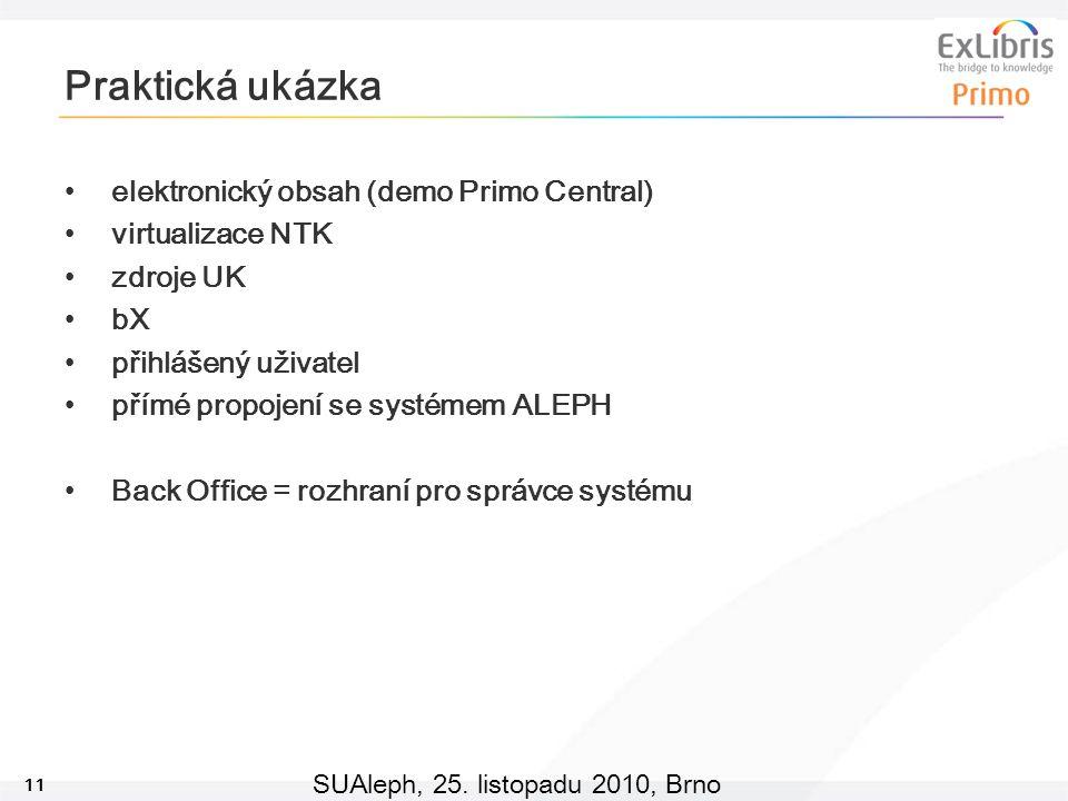 11 SUAleph, 25. listopadu 2010, Brno Praktická ukázka elektronický obsah (demo Primo Central) virtualizace NTK zdroje UK bX přihlášený uživatel přímé
