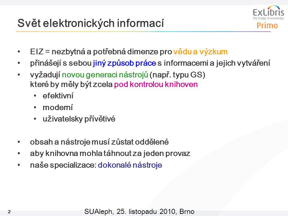 2 SUAleph, 25. listopadu 2010, Brno Svět elektronických informací EIZ = nezbytná a potřebná dimenze pro vědu a výzkum přinášejí s sebou jiný způsob pr