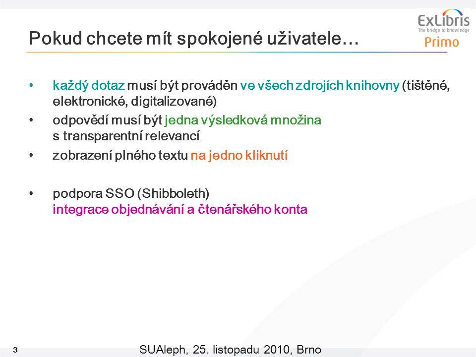 3 SUAleph, 25. listopadu 2010, Brno Pokud chcete mít spokojené uživatele… každý dotaz musí být prováděn ve všech zdrojích knihovny (tištěné, elektroni