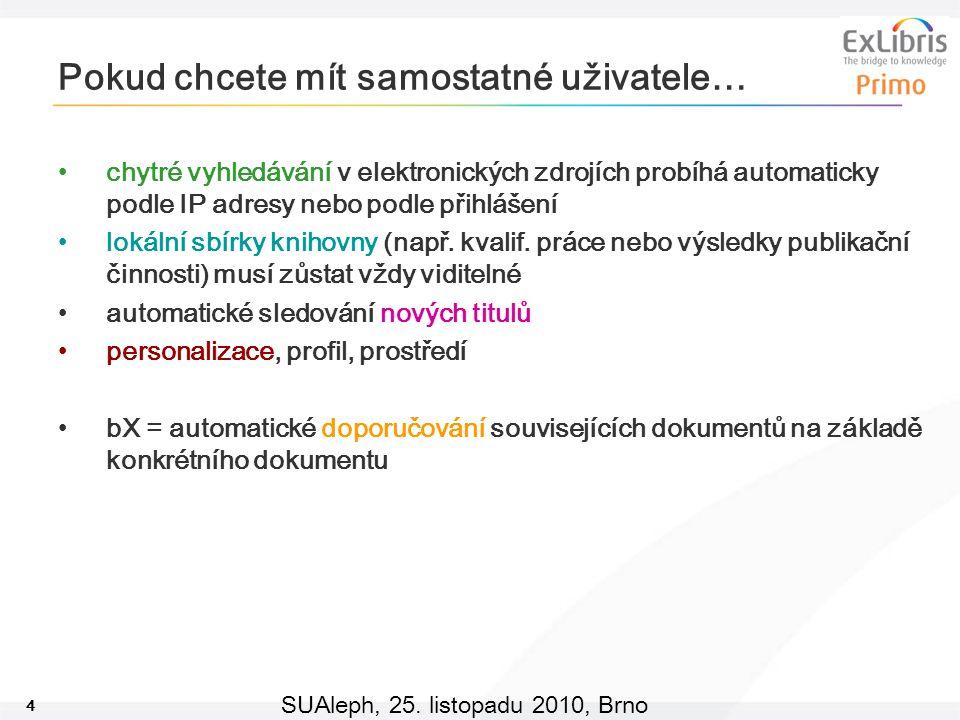 4 SUAleph, 25. listopadu 2010, Brno Pokud chcete mít samostatné uživatele… chytré vyhledávání v elektronických zdrojích probíhá automaticky podle IP a
