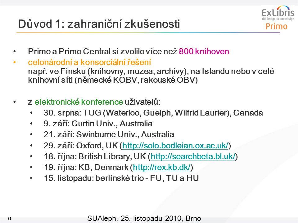 6 SUAleph, 25. listopadu 2010, Brno Důvod 1: zahraniční zkušenosti Primo a Primo Central si zvolilo více než 800 knihoven celonárodní a konsorciální ř