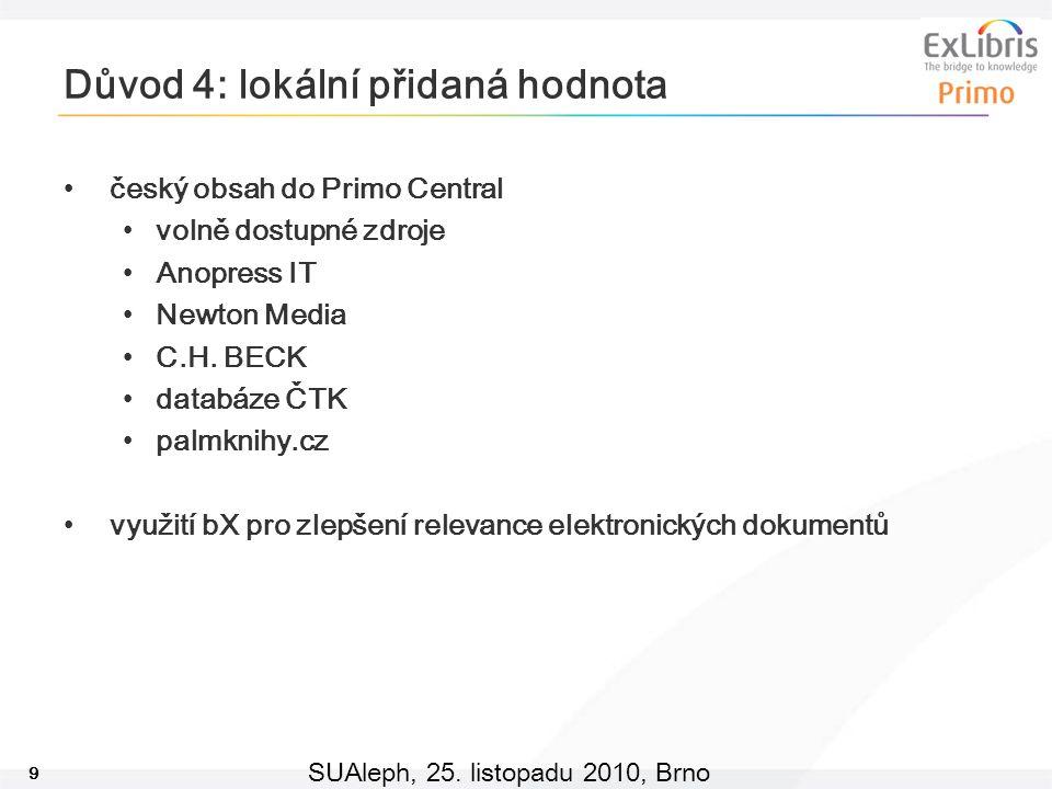 9 SUAleph, 25. listopadu 2010, Brno Důvod 4: lokální přidaná hodnota český obsah do Primo Central volně dostupné zdroje Anopress IT Newton Media C.H.