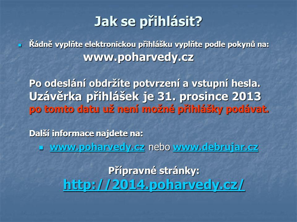 Jak se přihlásit? Řádně vyplňte elektronickou přihlášku vyplňte podle pokynů na: www.poharvedy.cz Po odeslání obdržíte potvrzení a vstupní hesla. Uzáv