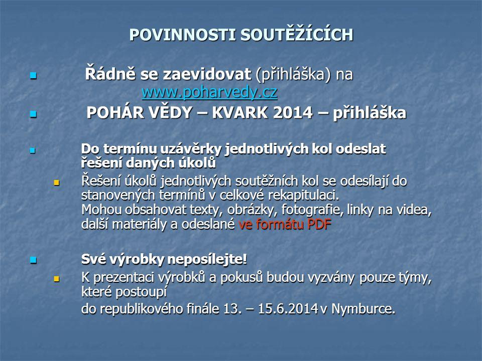POVINNOSTI SOUTĚŽÍCÍCH Řádně se zaevidovat (přihláška) na www.poharvedy.cz Řádně se zaevidovat (přihláška) na www.poharvedy.czwww.poharvedy.cz POHÁR V