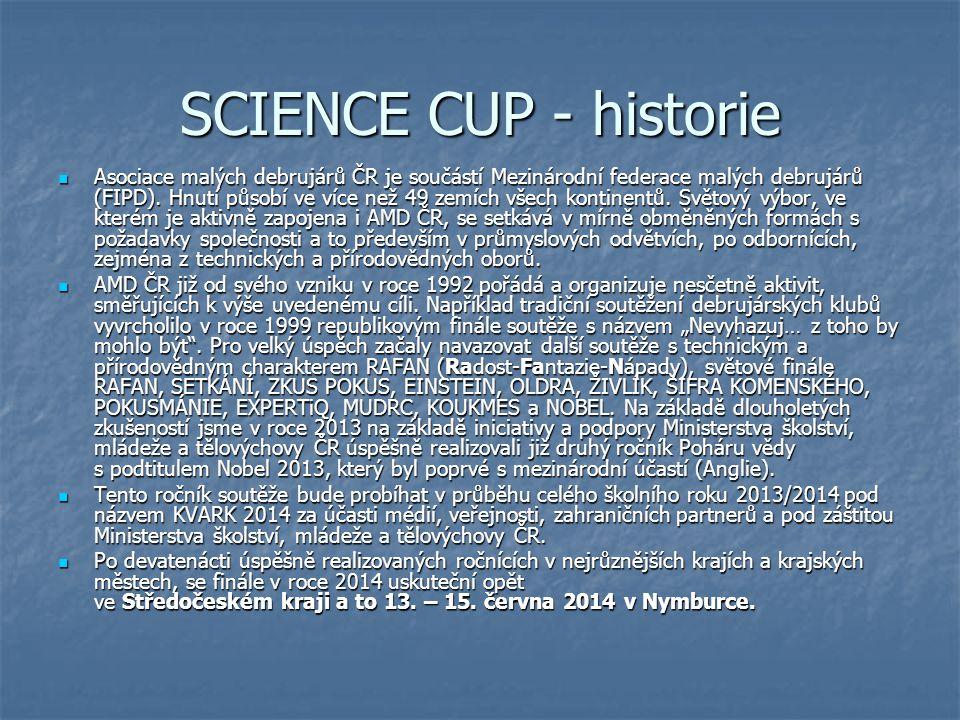 SCIENCE CUP - historie Asociace malých debrujárů ČR je součástí Mezinárodní federace malých debrujárů (FIPD). Hnutí působí ve více než 49 zemích všech