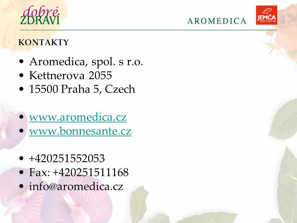 KONTAKTY Aromedica, spol. s r.o. Kettnerova 2055 15500 Praha 5, Czech www.aromedica.cz www.bonnesante.cz +420251552053 Fax: +420251511168 info@aromedi
