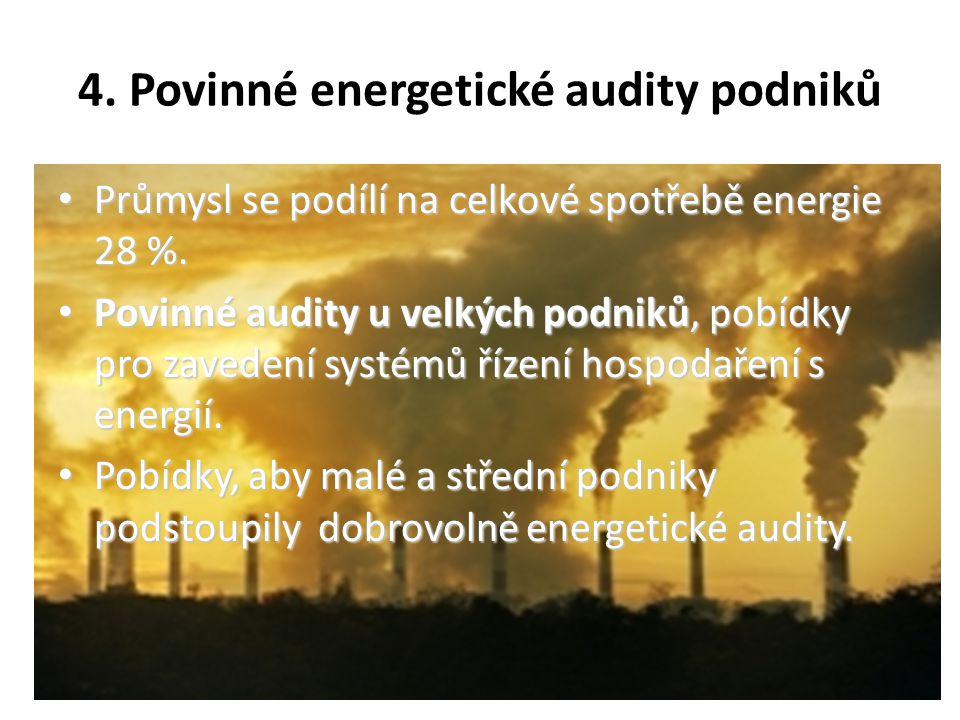 4. Povinné energetické audity podniků Průmysl se podílí na celkové spotřebě energie 28 %.
