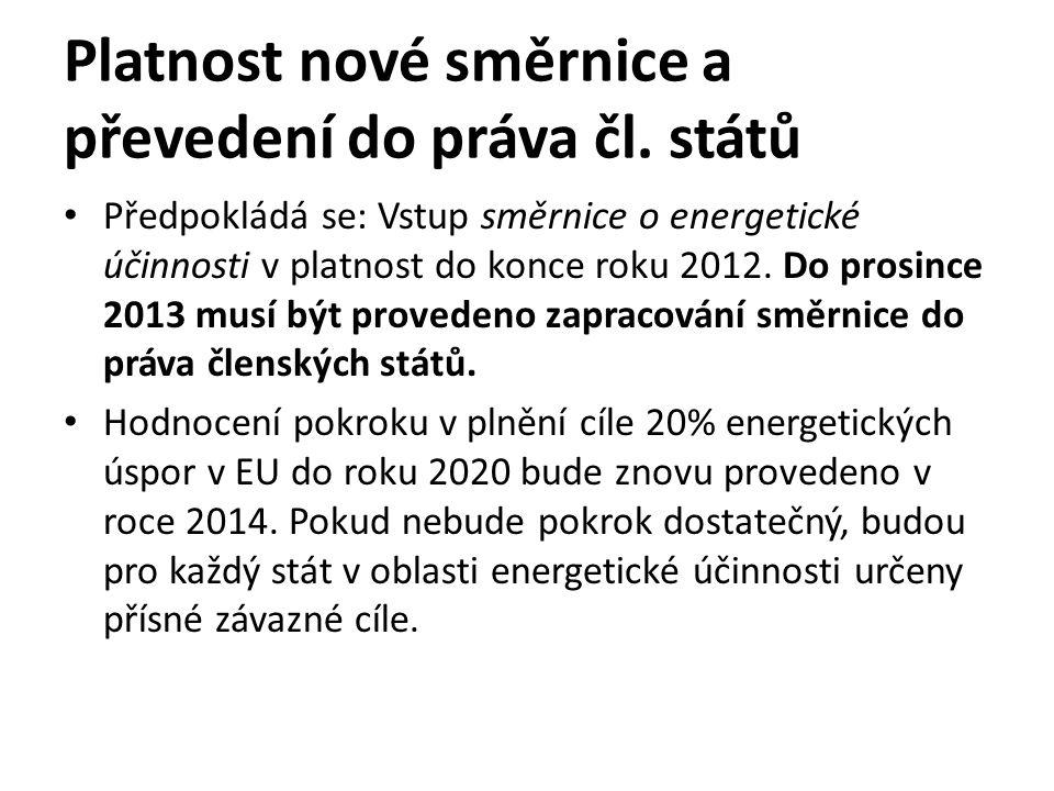 Platnost nové směrnice a převedení do práva čl.