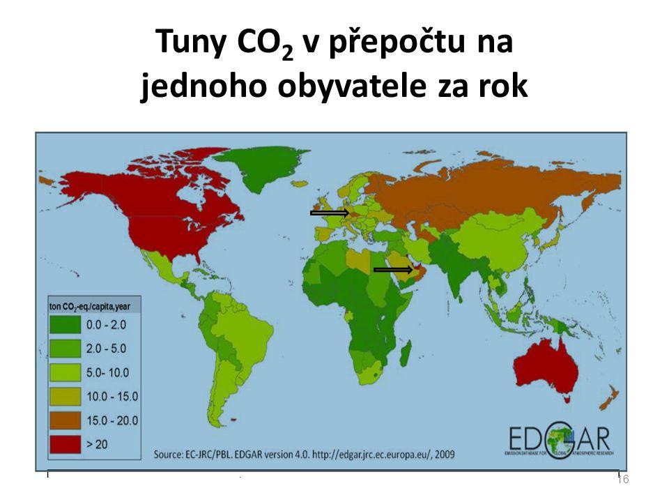 Tuny CO 2 v přepočtu na jednoho obyvatele za rok 16