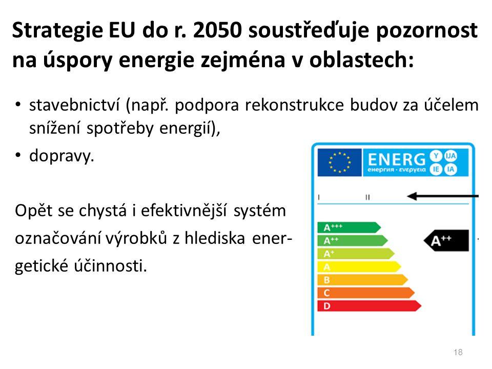 stavebnictví (např. podpora rekonstrukce budov za účelem snížení spotřeby energií), dopravy.