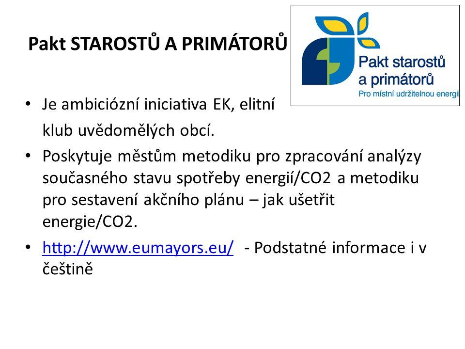 Pakt STAROSTŮ A PRIMÁTORŮ Je ambiciózní iniciativa EK, elitní klub uvědomělých obcí.