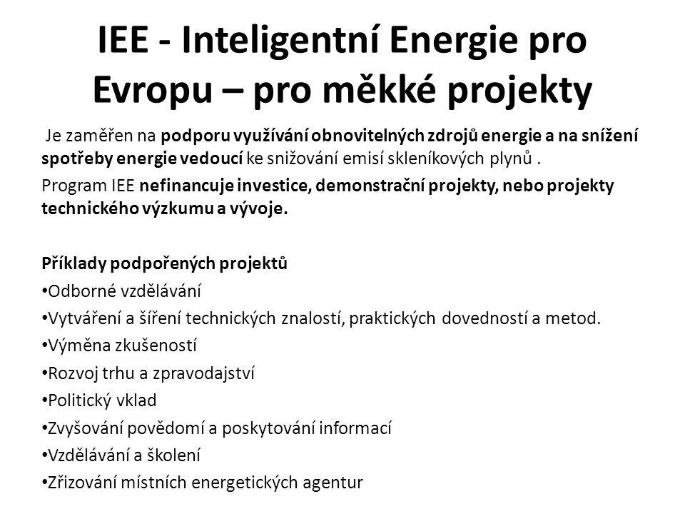 IEE - Inteligentní Energie pro Evropu – pro měkké projekty Je zaměřen na podporu využívání obnovitelných zdrojů energie a na snížení spotřeby energie vedoucí ke snižování emisí skleníkových plynů.