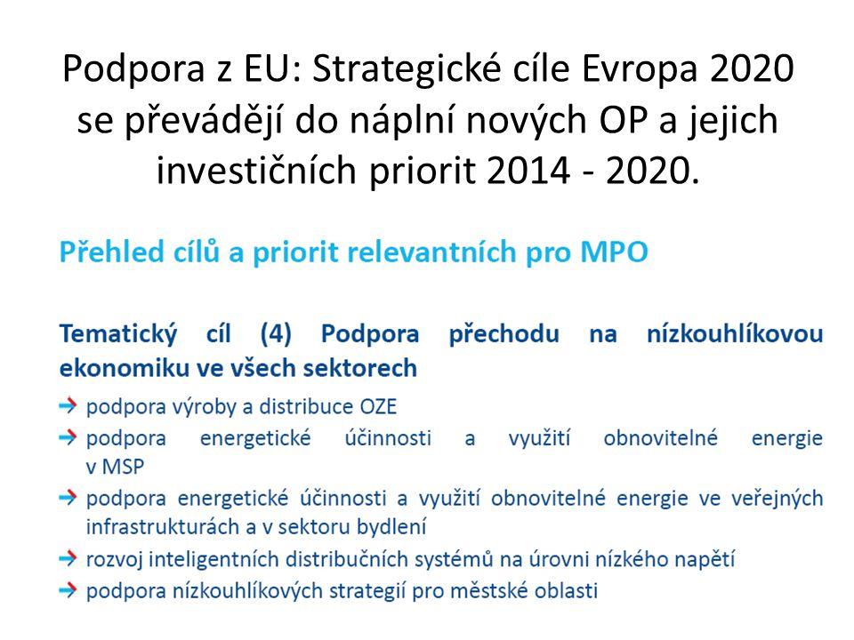 Podpora z EU: Strategické cíle Evropa 2020 se převádějí do náplní nových OP a jejich investičních priorit 2014 - 2020.