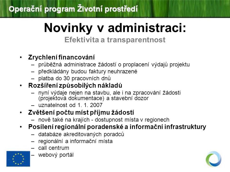 Novinky v administraci: Efektivita a transparentnost Zrychlení financování –průběžná administrace žádostí o proplacení výdajů projektu –předkládány bu