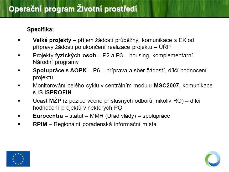 Specifika:  Velké projekty – příjem žádostí průběžný, komunikace s EK od přípravy žádosti po ukončení realizace projektu – ÚŘP  Projekty fyzických osob – P2 a P3 – housing, komplementární Národní programy  Spolupráce s AOPK – P6 – příprava a sběr žádostí, dílčí hodnocení projektů  Monitorování celého cyklu v centrálním modulu MSC2007, komunikace s IS ISPROFIN.