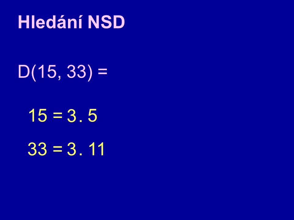 Hledání NSD D(15, 33) = 15 = 33 = 5 3.11 3.
