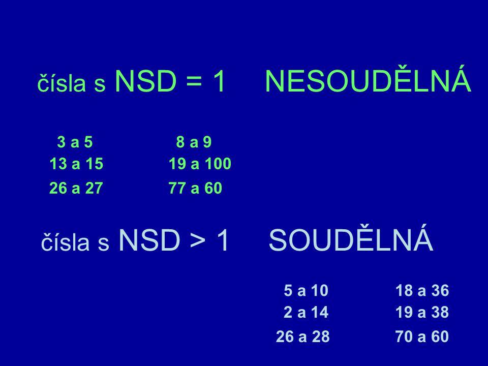 Procvičování hledání NSD 1.D(12, 15) = 3 2. D(13, 7) = 3.