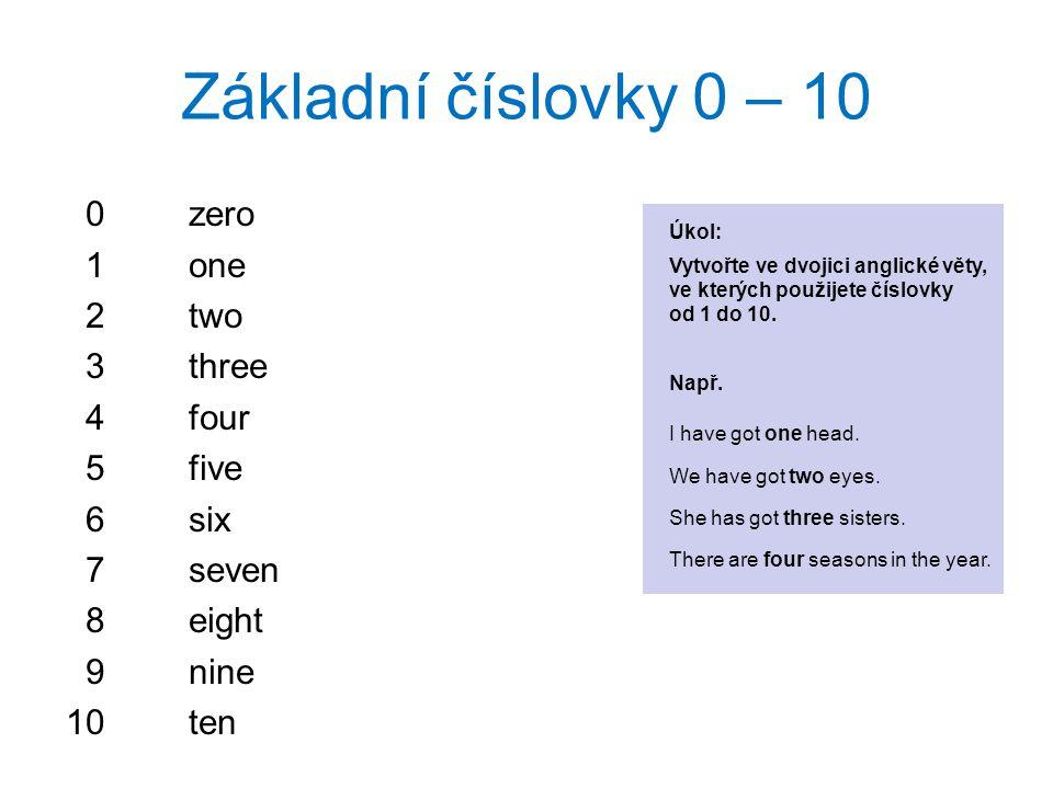 Základní číslovky 0 – 10 0zero 1one 2two 3three 4four 5five 6six 7seven 8eight 9nine 10ten Úkol: Vytvořte ve dvojici anglické věty, ve kterých použijete číslovky od 1 do 10.
