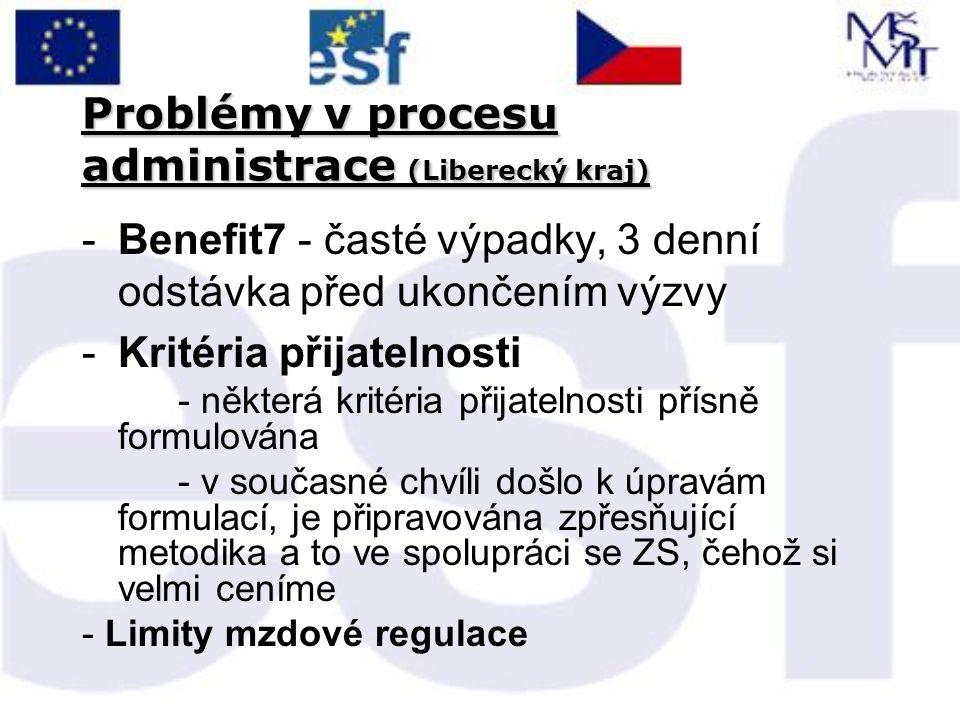 Problémy v procesu administrace (Liberecký kraj) -Benefit7 - časté výpadky, 3 denní odstávka před ukončením výzvy -Kritéria přijatelnosti - některá kritéria přijatelnosti přísně formulována - v současné chvíli došlo k úpravám formulací, je připravována zpřesňující metodika a to ve spolupráci se ZS, čehož si velmi ceníme - Limity mzdové regulace