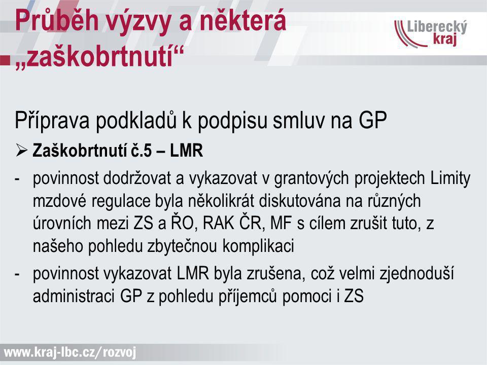 Příprava podkladů k podpisu smluv na GP  Zaškobrtnutí č.5 – LMR -povinnost dodržovat a vykazovat v grantových projektech Limity mzdové regulace byla