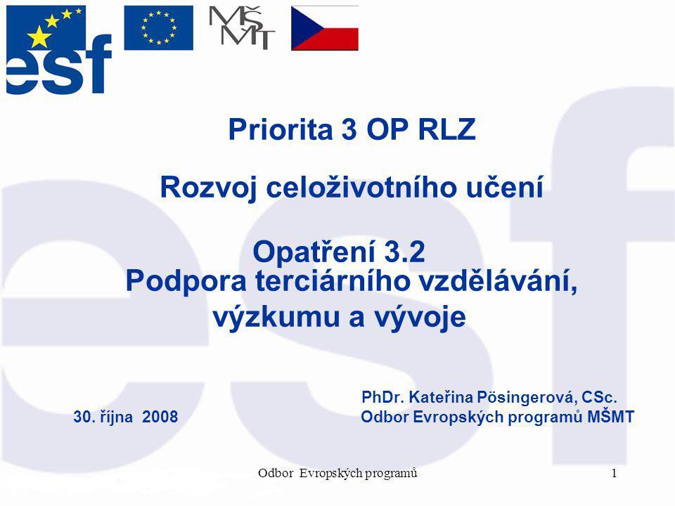 Odbor Evropských programů1 Priorita 3 OP RLZ Rozvoj celoživotního učení Opatření 3.2 Podpora terciárního vzdělávání, výzkumu a vývoje PhDr.