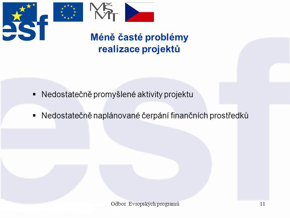 Odbor Evropských programů11 Méně časté problémy realizace projektů  Nedostatečně promyšlené aktivity projektu  Nedostatečně naplánované čerpání finančních prostředků