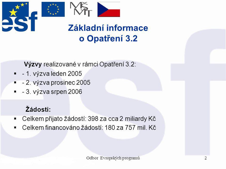 Odbor Evropských programů2 Základní informace o Opatření 3.2 Výzvy realizované v rámci Opatření 3.2:  - 1.