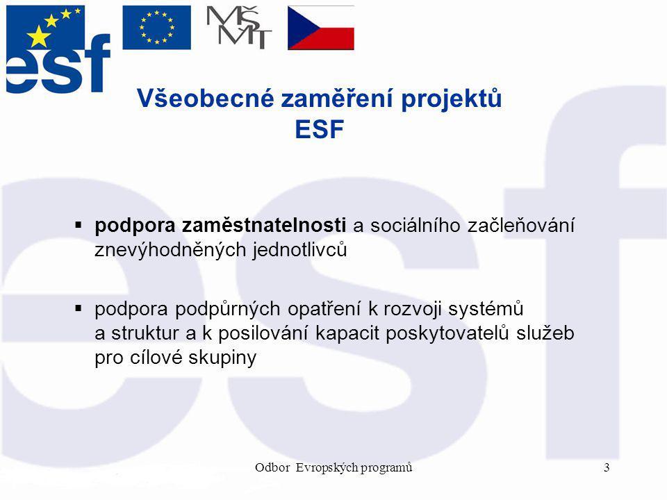 Odbor Evropských programů3 Všeobecné zaměření projektů ESF  podpora zaměstnatelnosti a sociálního začleňování znevýhodněných jednotlivců  podpora podpůrných opatření k rozvoji systémů a struktur a k posilování kapacit poskytovatelů služeb pro cílové skupiny