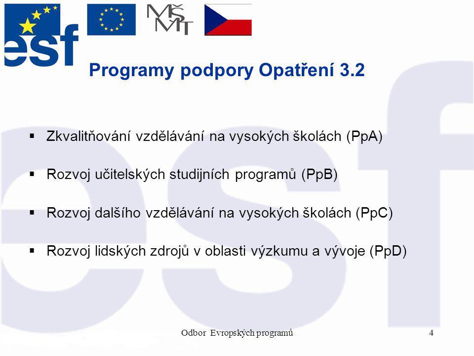 Odbor Evropských programů4 Programy podpory Opatření 3.2  Zkvalitňování vzdělávání na vysokých školách (PpA)  Rozvoj učitelských studijních programů (PpB)  Rozvoj dalšího vzdělávání na vysokých školách (PpC)  Rozvoj lidských zdrojů v oblasti výzkumu a vývoje (PpD)