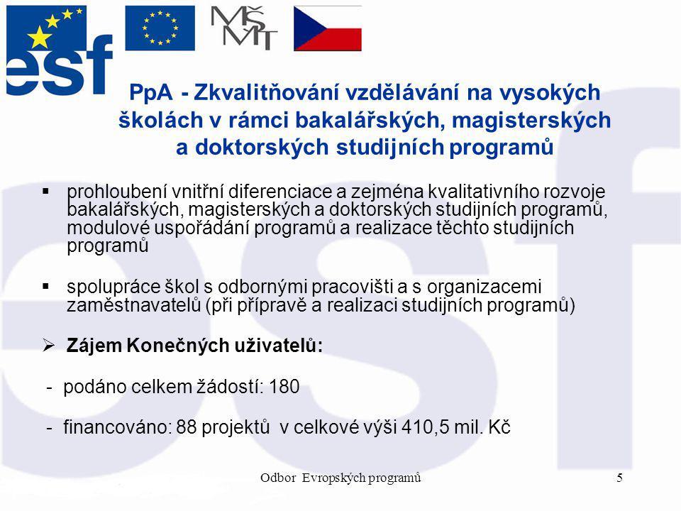 Odbor Evropských programů5 PpA - Zkvalitňování vzdělávání na vysokých školách v rámci bakalářských, magisterských a doktorských studijních programů  prohloubení vnitřní diferenciace a zejména kvalitativního rozvoje bakalářských, magisterských a doktorských studijních programů, modulové uspořádání programů a realizace těchto studijních programů  spolupráce škol s odbornými pracovišti a s organizacemi zaměstnavatelů (při přípravě a realizaci studijních programů)  Zájem Konečných uživatelů: - podáno celkem žádostí: 180 - financováno: 88 projektů v celkové výši 410,5 mil.