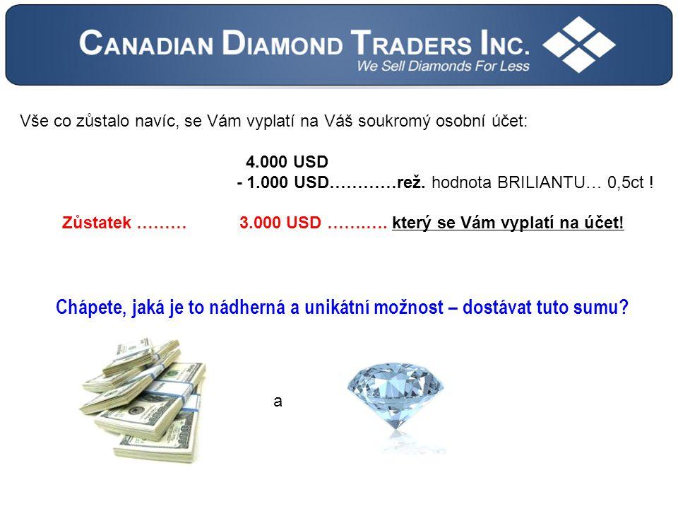 Vše co zůstalo navíc, se Vám vyplatí na Váš soukromý osobní účet: 4.000 USD - 1.000 USD…………rež.