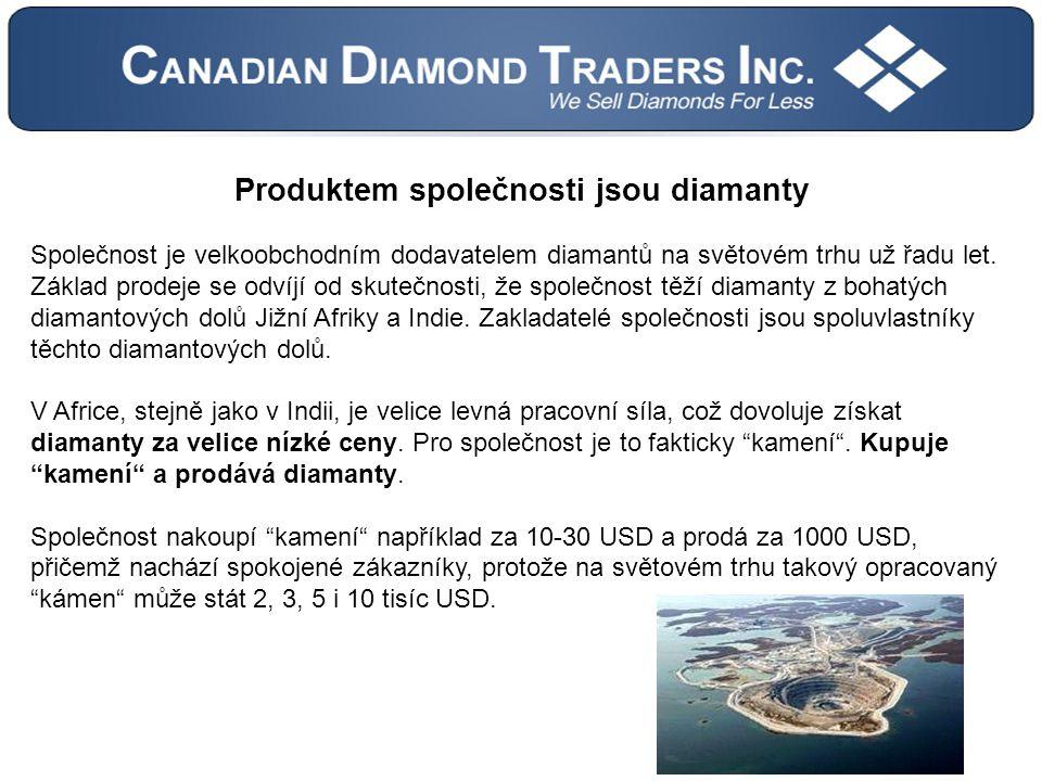 Produktem společnosti jsou diamanty Společnost je velkoobchodním dodavatelem diamantů na světovém trhu už řadu let.
