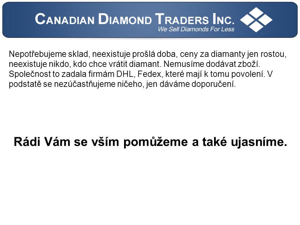Nepotřebujeme sklad, neexistuje prošlá doba, ceny za diamanty jen rostou, neexistuje nikdo, kdo chce vrátit diamant.