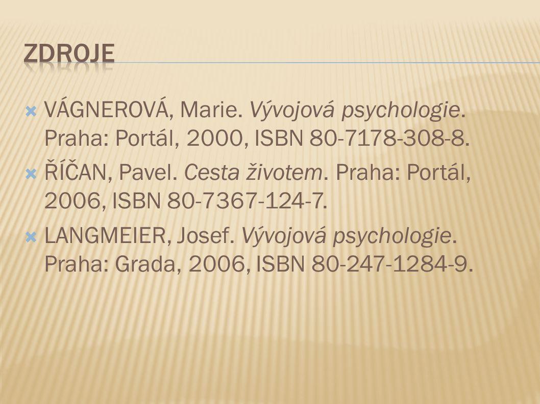  VÁGNEROVÁ, Marie. Vývojová psychologie. Praha: Portál, 2000, ISBN 80-7178-308-8.