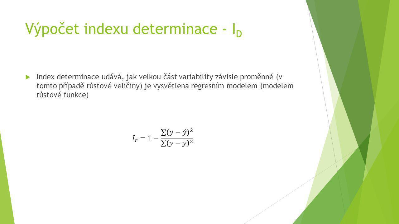 Výpočet indexu determinace - I D  Index determinace udává, jak velkou část variability závisle proměnné (v tomto případě růstové veličiny) je vysvětl