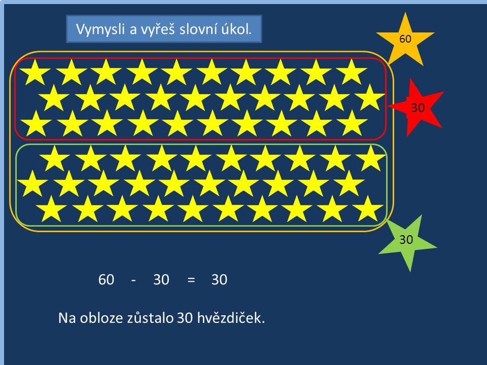 Vymysli a vyřeš slovní úkol. 60 30 60-30= Na obloze zůstalo 30 hvězdiček. 30
