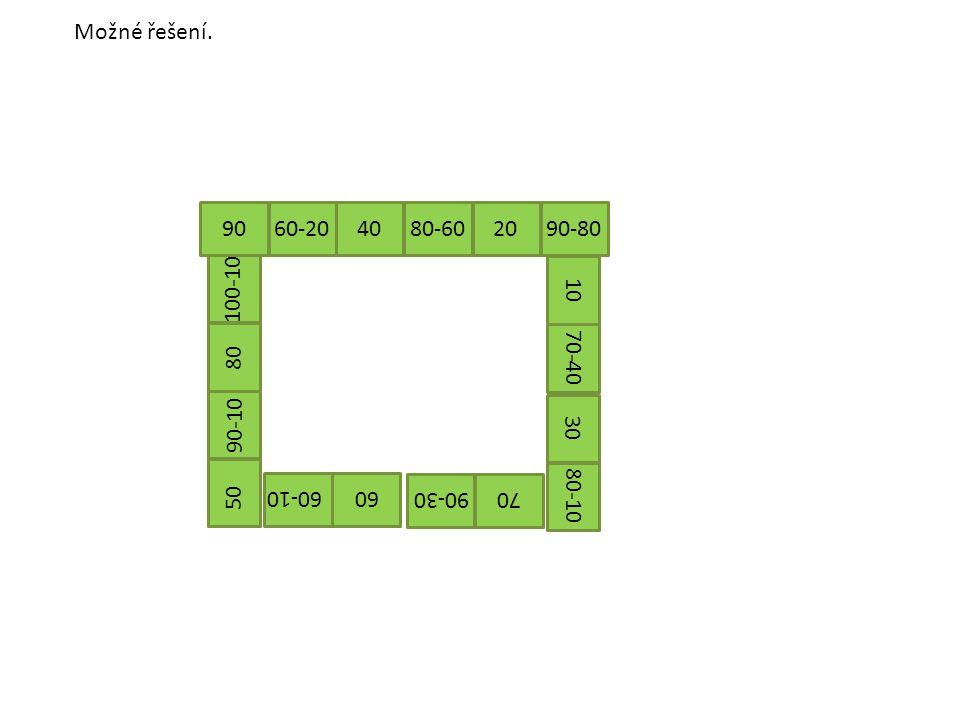 Možné řešení. 40 80-602090-80 1070-40 30 80-10 70 90-30 60 60-10 50 90-10 90 60-20 80 100-10