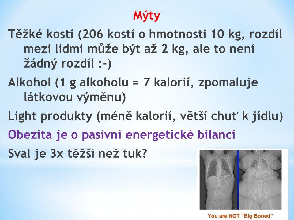 Mýty Těžké kosti (206 kostí o hmotnosti 10 kg, rozdíl mezi lidmi může být až 2 kg, ale to není žádný rozdíl :-) Alkohol (1 g alkoholu = 7 kalorií, zpo