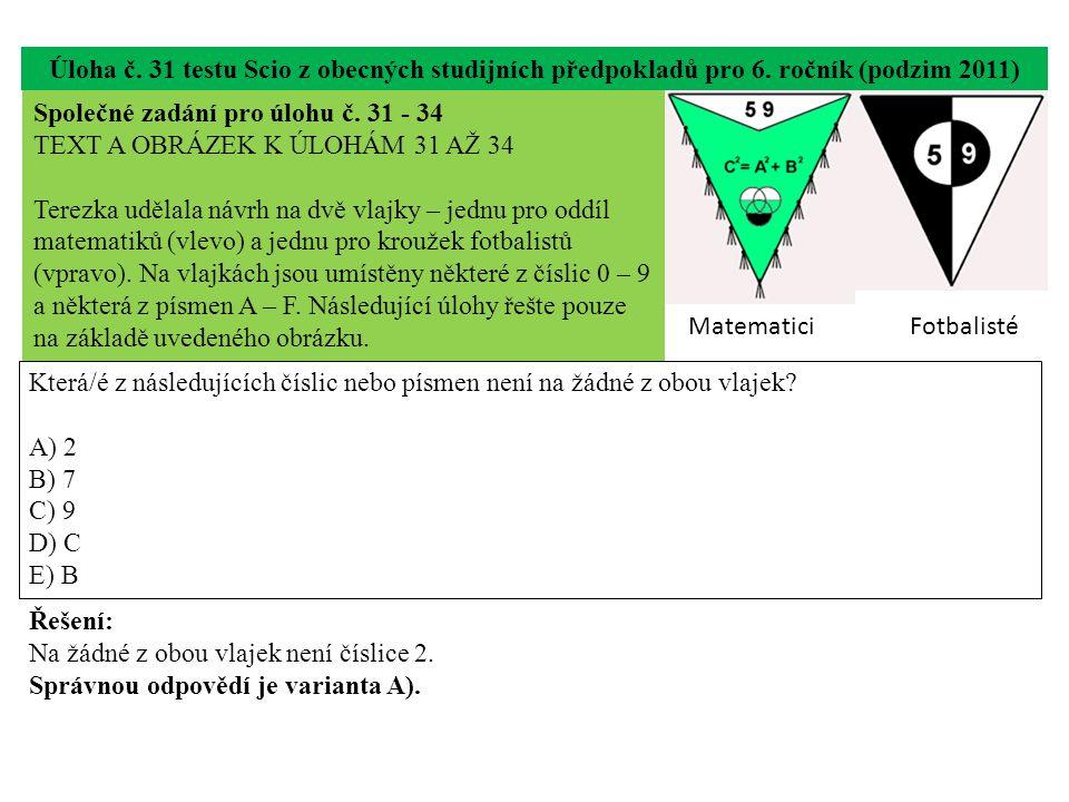 Úloha č. 31 testu Scio z obecných studijních předpokladů pro 6. ročník (podzim 2011) Která/é z následujících číslic nebo písmen není na žádné z obou v