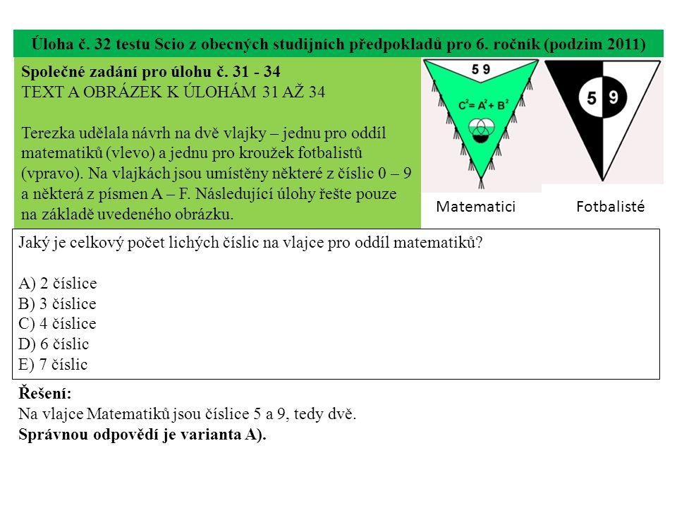 Úloha č. 32 testu Scio z obecných studijních předpokladů pro 6.