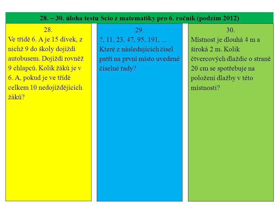 28. – 30. úloha testu Scio z matematiky pro 6. ročník (podzim 2012) 28. Ve třídě 6. A je 15 dívek, z nichž 9 do školy dojíždí autobusem. Dojíždí rovně
