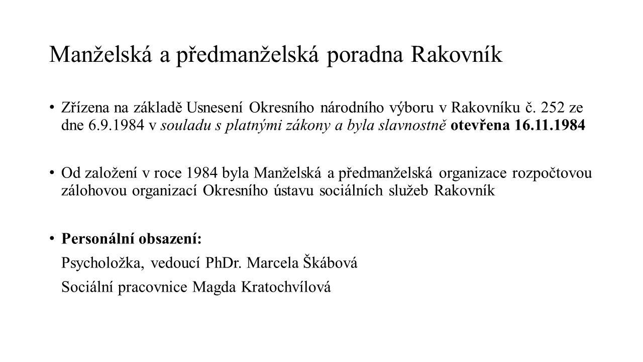 Manželská a předmanželská poradna Rakovník Zřízena na základě Usnesení Okresního národního výboru v Rakovníku č. 252 ze dne 6.9.1984 v souladu s platn