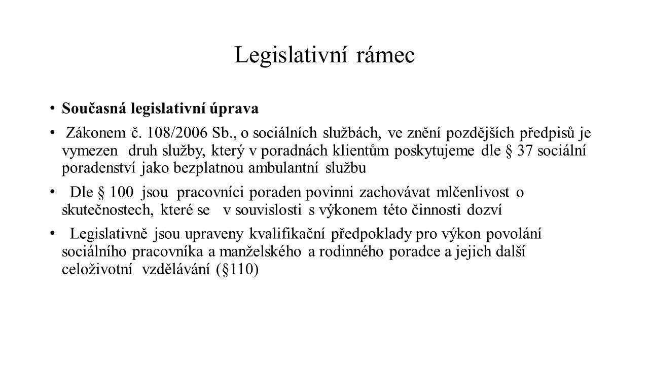 Legislativní rámec Současná legislativní úprava Zákonem č. 108/2006 Sb., o sociálních službách, ve znění pozdějších předpisů je vymezen druh služby, k