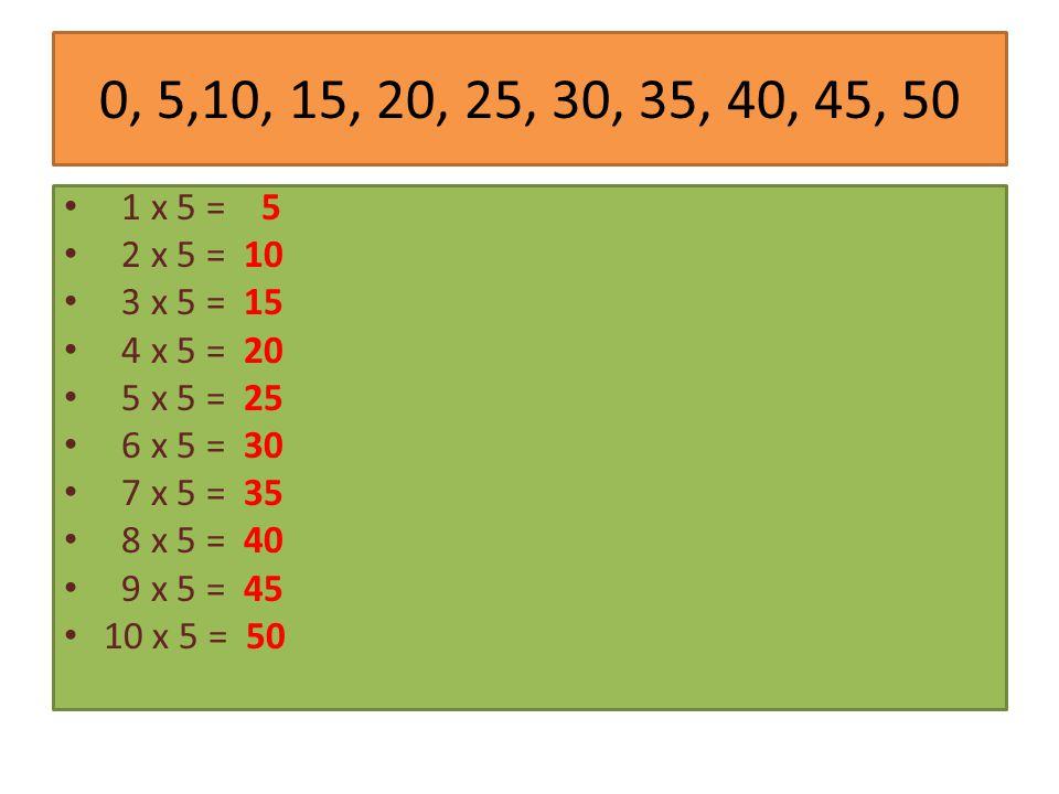 0, 5,10, 15, 20, 25, 30, 35, 40, 45, 50 1 x 5 = 5 2 x 5 = 10 3 x 5 = 15 4 x 5 = 20 5 x 5 = 25 6 x 5 = 30 7 x 5 = 35 8 x 5 = 40 9 x 5 = 45 10 x 5 = 50