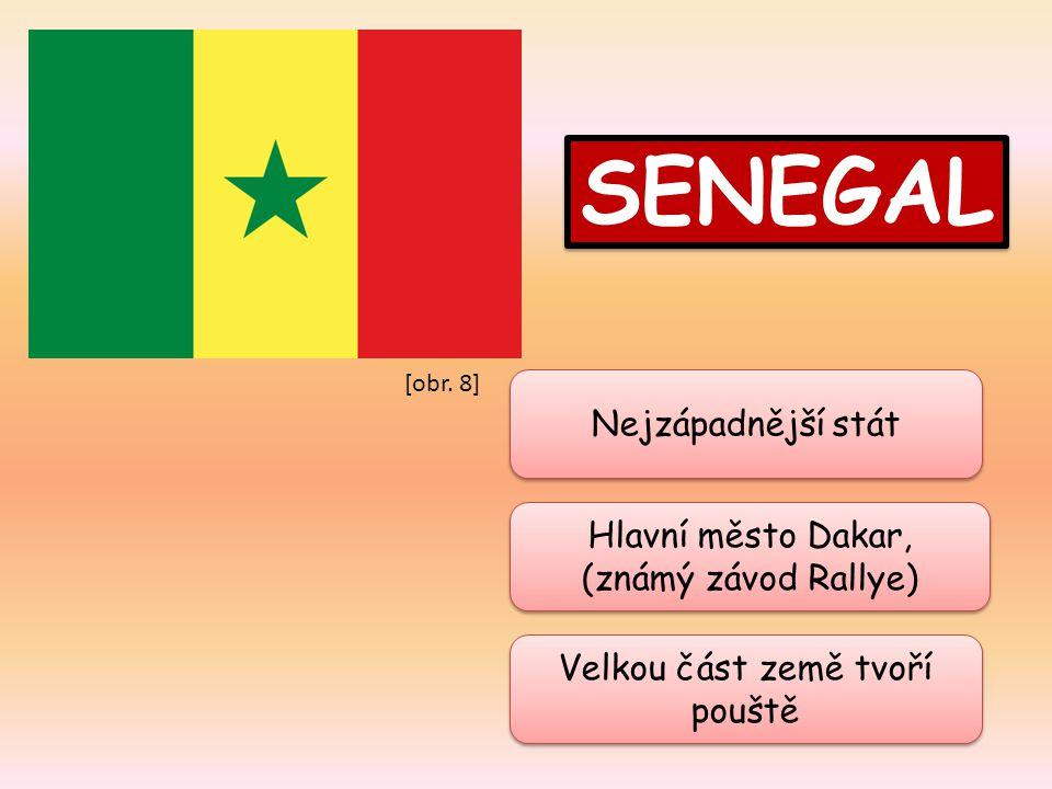 SENEGAL Hlavní město Dakar, (známý závod Rallye) Hlavní město Dakar, (známý závod Rallye) Velkou část země tvoří pouště Nejzápadnější stát [obr. 8]