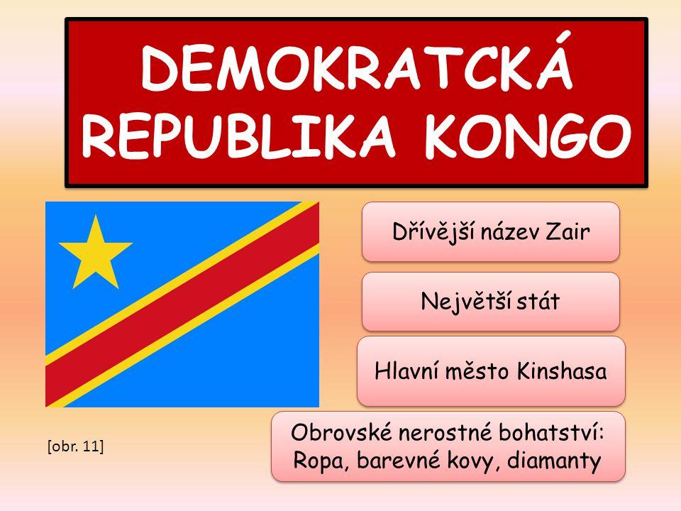 DEMOKRATCKÁ REPUBLIKA KONGO Největší stát Hlavní město Kinshasa Obrovské nerostné bohatství: Ropa, barevné kovy, diamanty Obrovské nerostné bohatství: